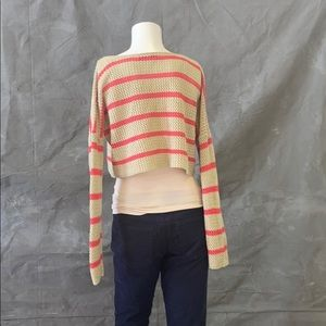 Say what crop top in tan with coral stripe.